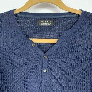 Zara Man Blue Henley Size M